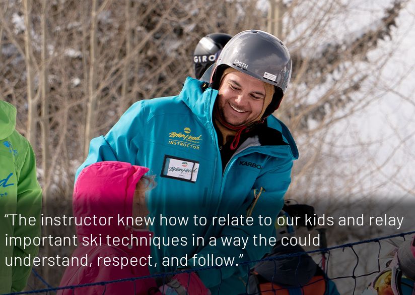 Ski Instructor Talking to a Kid